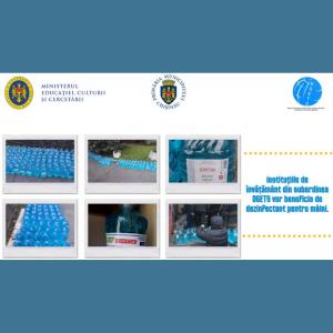 Direcția Generală Educație, Tineret și Sport a Consiliului municipal Chișinău, vă comunică despre asigurarea elevilor și cadrelor didactice cu dezinfectant pentru mâini