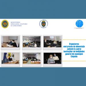 Organizarea unui proces de alimentație calitativ în cadrul instituțiilor de învățământ general din municipiul Chișinău, este principalul subiect discutat astăzi, 18 decembrie 2020, în cadrul unei ședințe de lucru organizată de către Direcția Generală Educație, Tineret și Sport a Consiliului municipal Chișinău