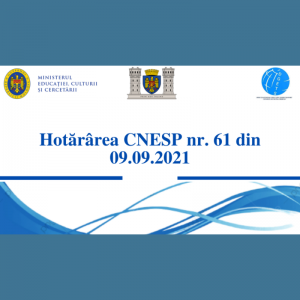 Hotărârea CNESP nr. 61 din 09 septembrie 2021